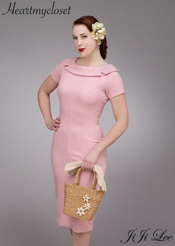 SUE - 1940s pencil dress notch collar