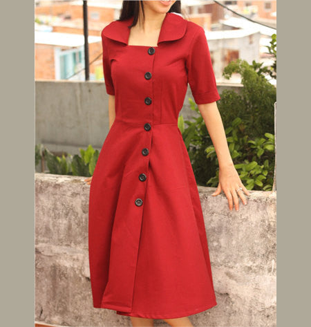 Gwen - red Aline dress with offside buttons - heartmycloset