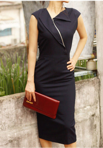 VINCY - sleeveless pencil dress exposed zipper