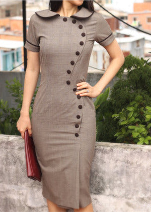 JUNE - pencil dress with contrast trim & buttons