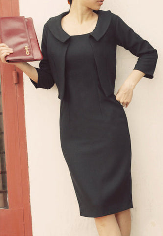 JD2 - pencil dress with matching cropped jacket long sleees