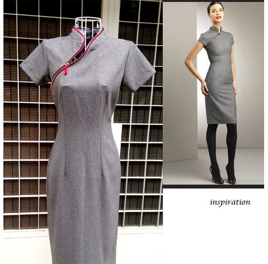 Cathy2 - grey pencil dress with zipper and mandarin collar - heartmycloset
