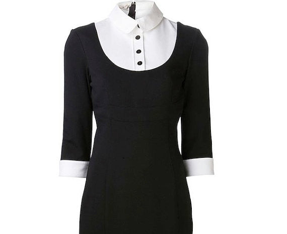 one piece classic - little black dress pencil w/ white contrast - heartmycloset