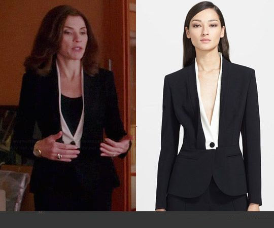 *Shawl Collar - black and white suit w/ pencil skirt - heartmycloset