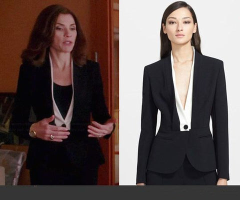 *Shawl Collar - black and white suit w/ pencil skirt