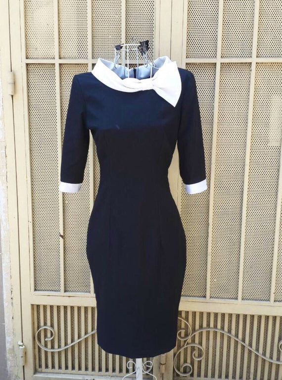 ELENA-2 - contrast wiggle vintage dress - heartmycloset