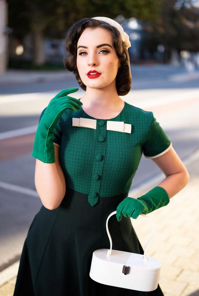 checkered green dress - vintage tv inspired with bow