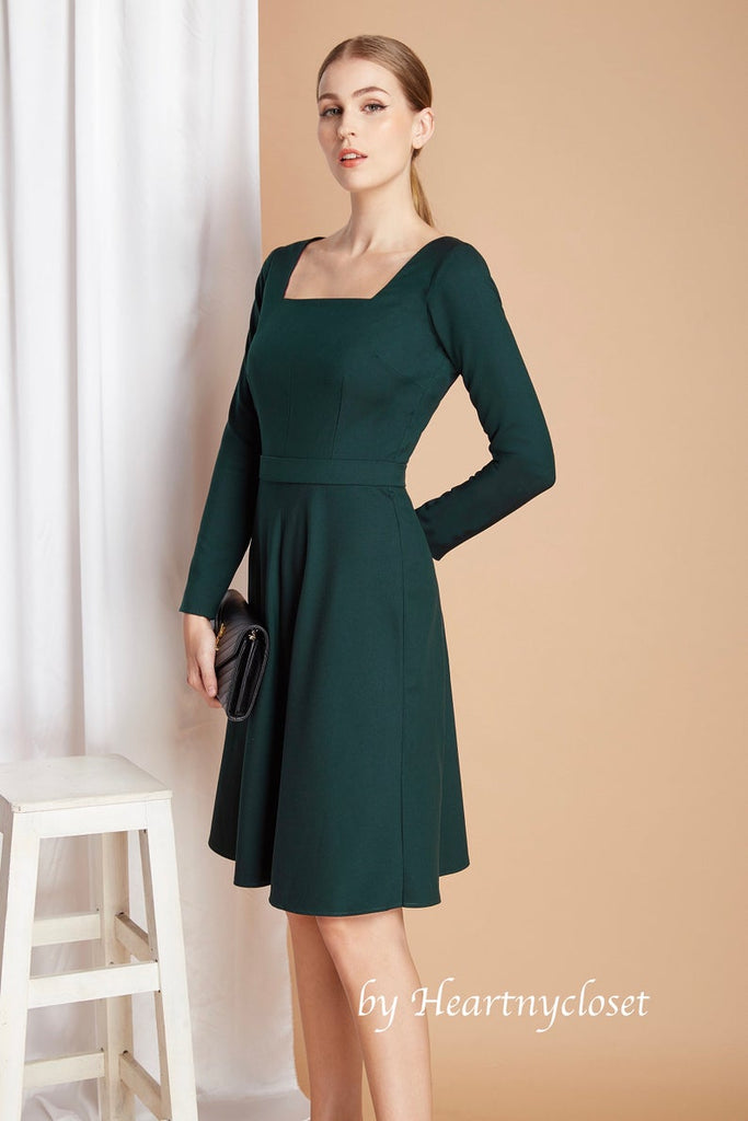 Kate Middleton green - A-line dress square neckline