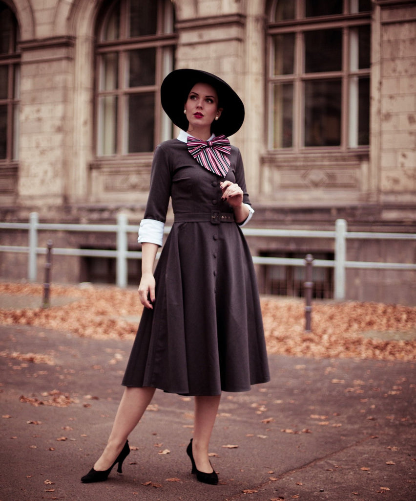 Mrs Maisel grey swing dress - vintage tv inspired dress