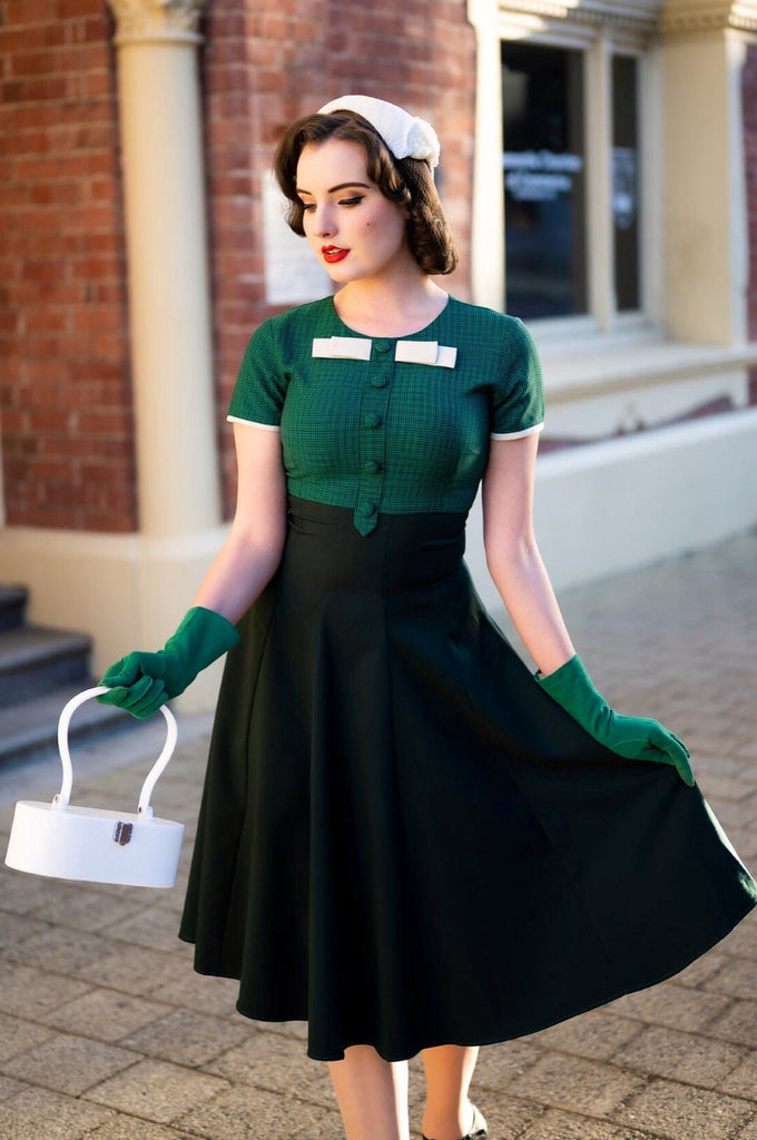 checkered green dress - vintage tv inspired with bow - heartmycloset