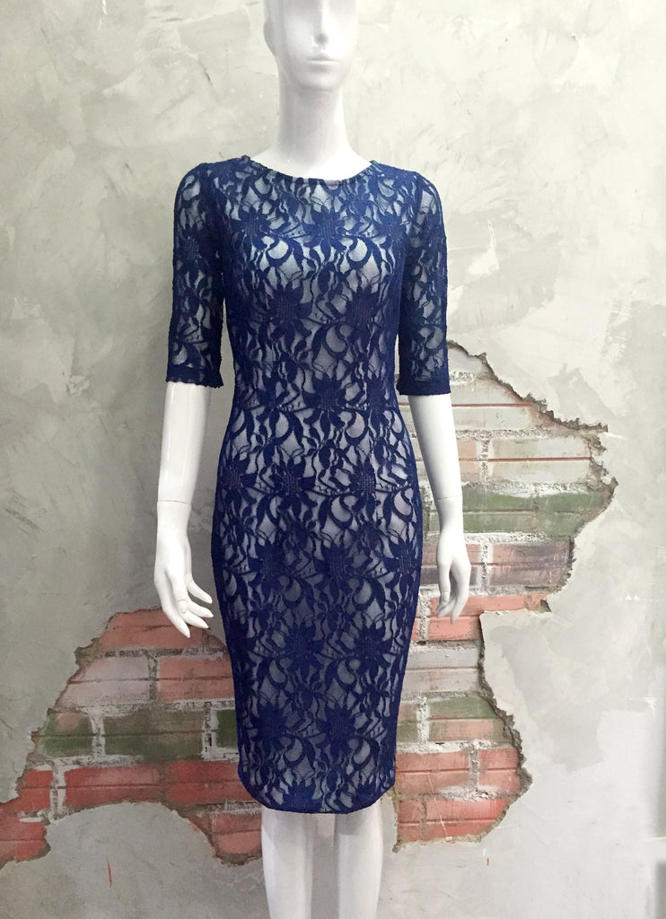 LACE beauty - boatneck lace pencil dress with sleeves - heartmycloset