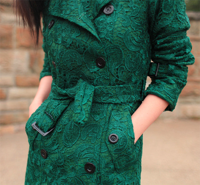 LACE trench coat - thick trench coat - heartmycloset