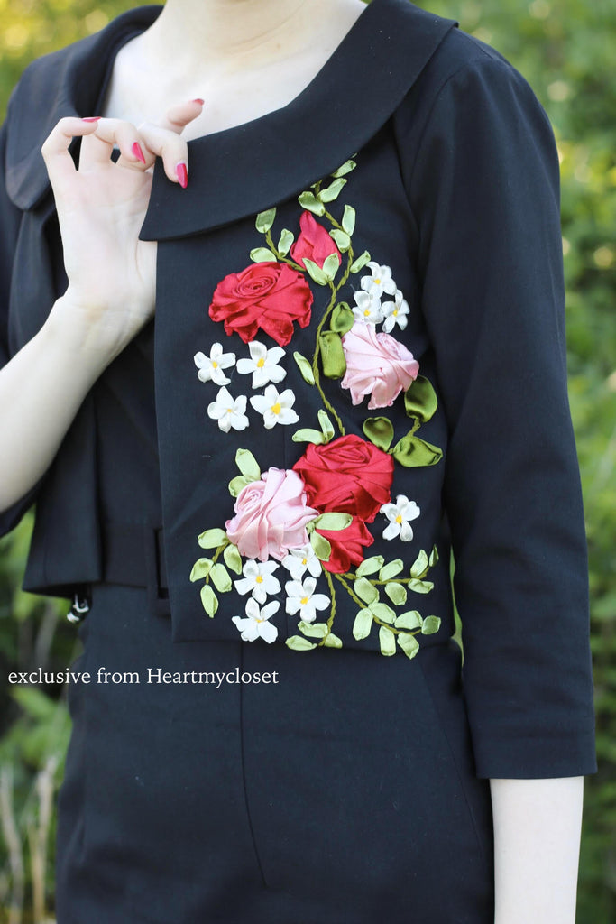 embroidered cropped jacket - heartmycloset