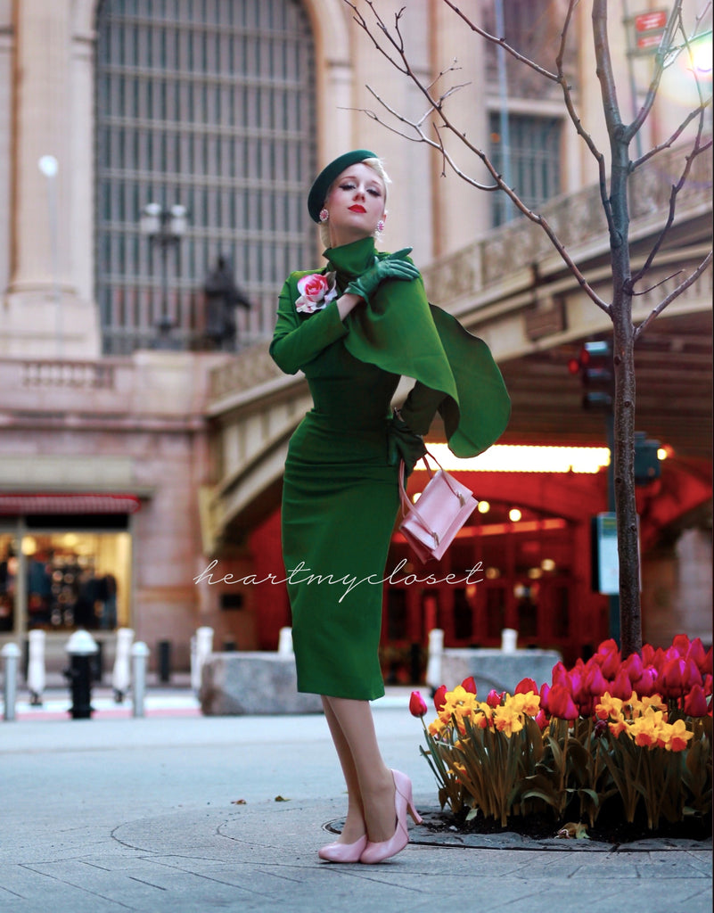 Green Semi Cape dress - Meghan Markle duchess dress