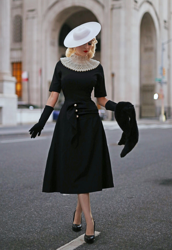 LBD with pearls - vintage inspired dress - heartmycloset