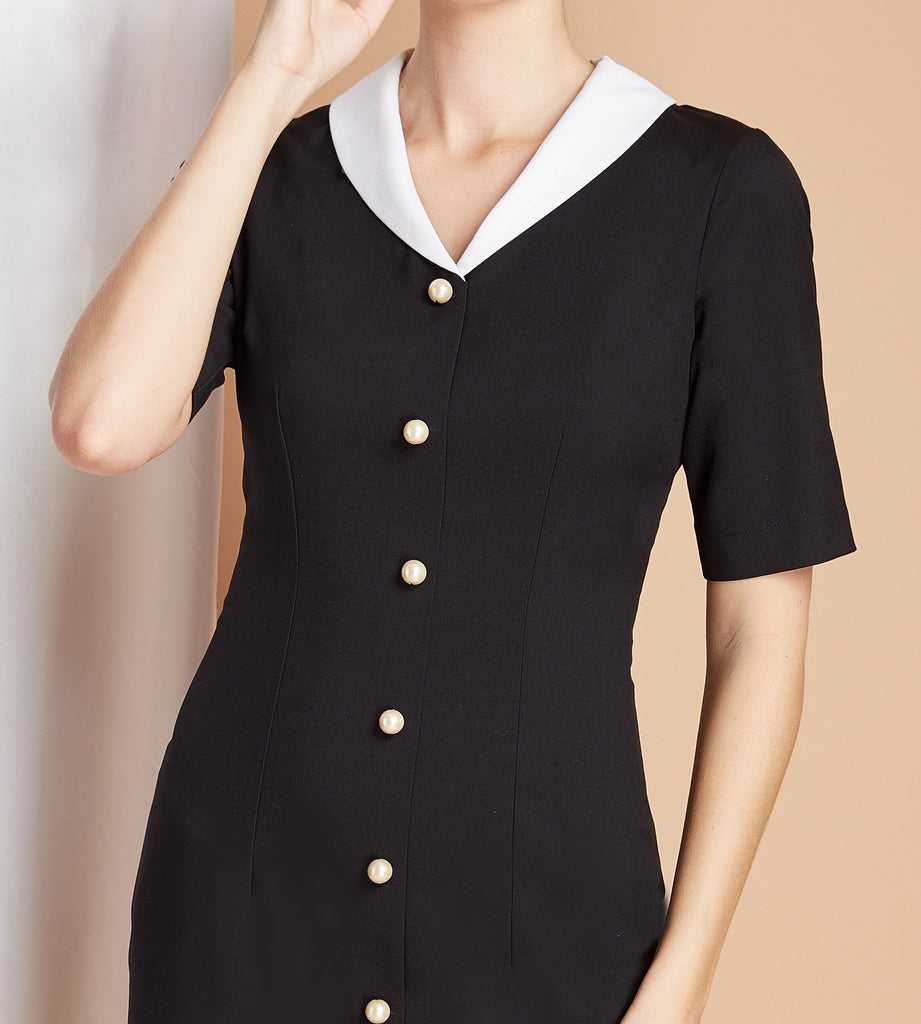 PEARL BUTTONS - Pencil dress with white contrast collar