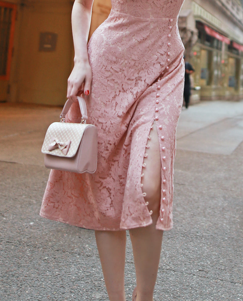Abigail-3 -pink lace dress with pearl buttons