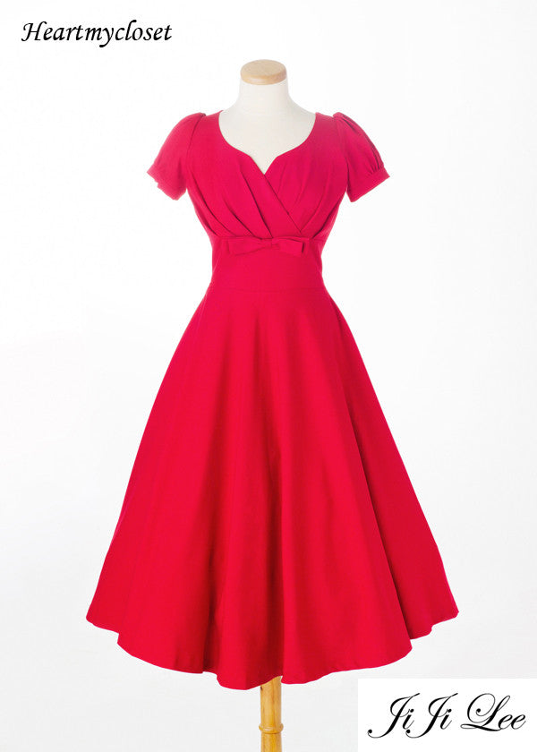 Reese - Swing retro dress with bow and pleats - heartmycloset
