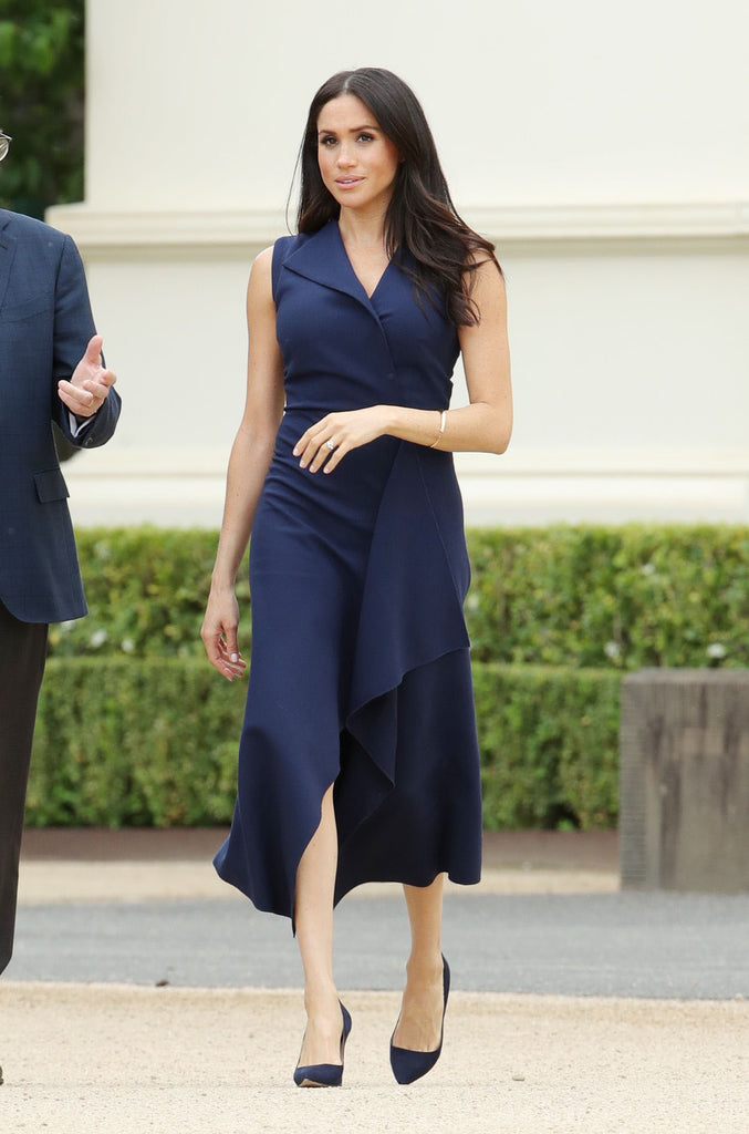 navy draped - draped front dress as on duchess - heartmycloset