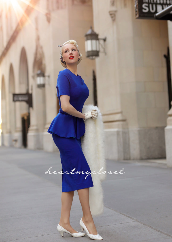 Audrey - vintage pencil dress with peplum 30s 40s