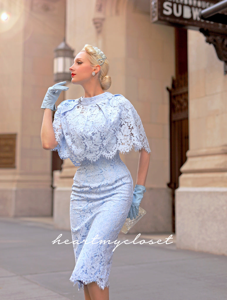 Lace Cape + dress - 50s 60s lace pencil dress with matching cape
