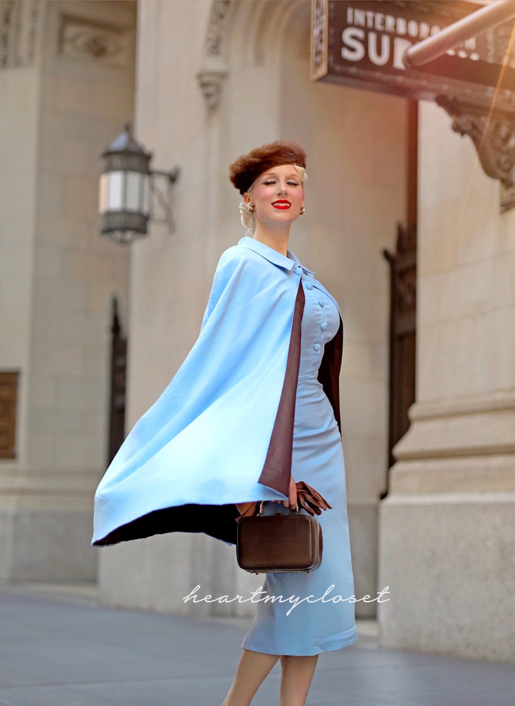 Claudia cape and dress - vintage 1950s inspired outfit