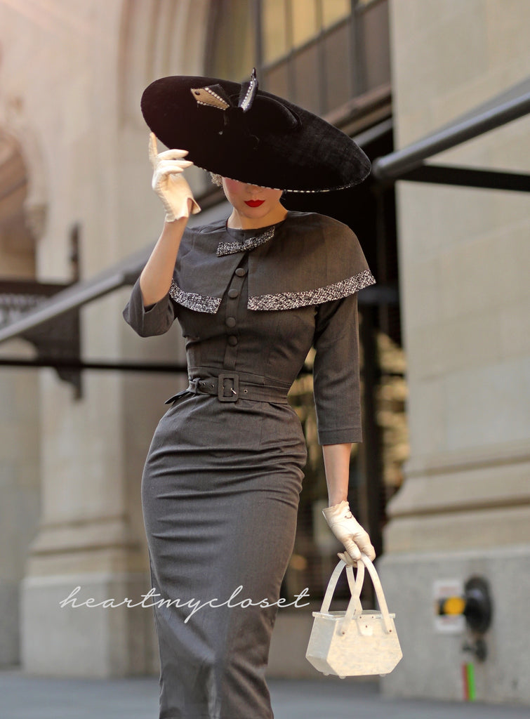 Derby - 1950s pencil dress with matching cape
