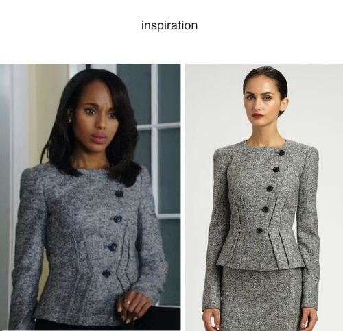 Olivia Jacket - grey jacket or suit with pencil skirt - heartmycloset