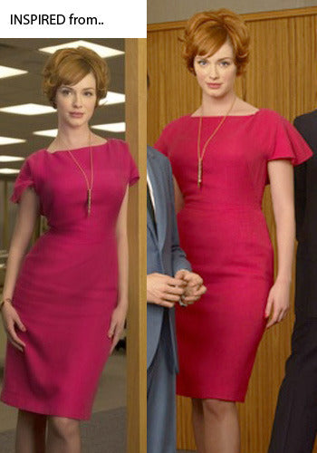 Carol - Joan Holloway vintage dress ruffle sleeves - heartmycloset