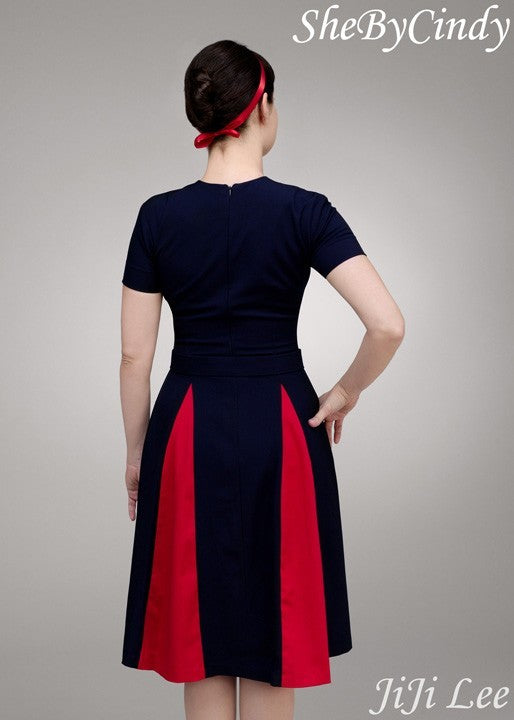 Heather - Mad Men dress swing with contrast pleats - heartmycloset