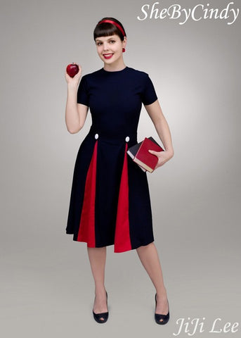 Heather - Mad Men dress swing with contrast pleats