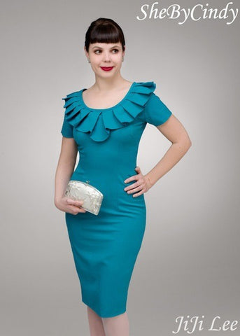 Ivana - Joan Holloway  pleated collar vintage pencil dress