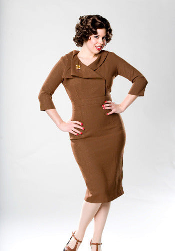 JACKIE - Joan Holloway inspired pencil dress draped collar - heartmycloset