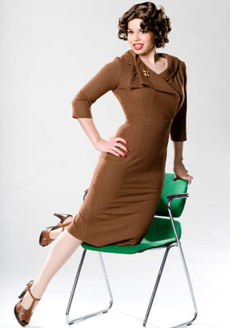 JACKIE - Joan Holloway inspired pencil dress draped collar