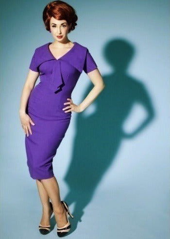 Lauren - purple Joan Holloway wiggle dress - heartmycloset