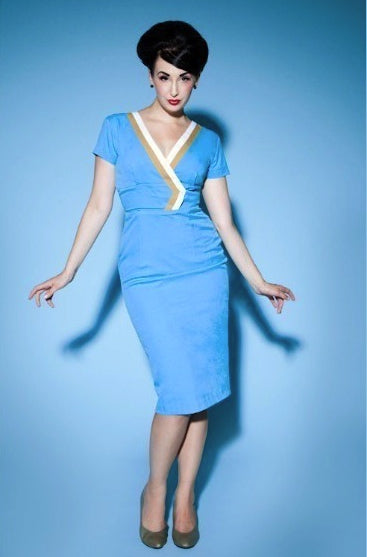 Lindsy - Joan Holloway vintage dress V neck - heartmycloset