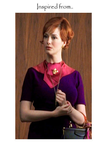 SABLE - Joan Holloway vintage dress satin collar - heartmycloset