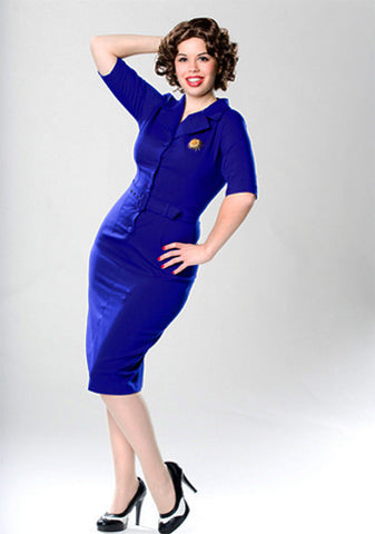 Sheila - Joan Holloway vintage pencil dress blue