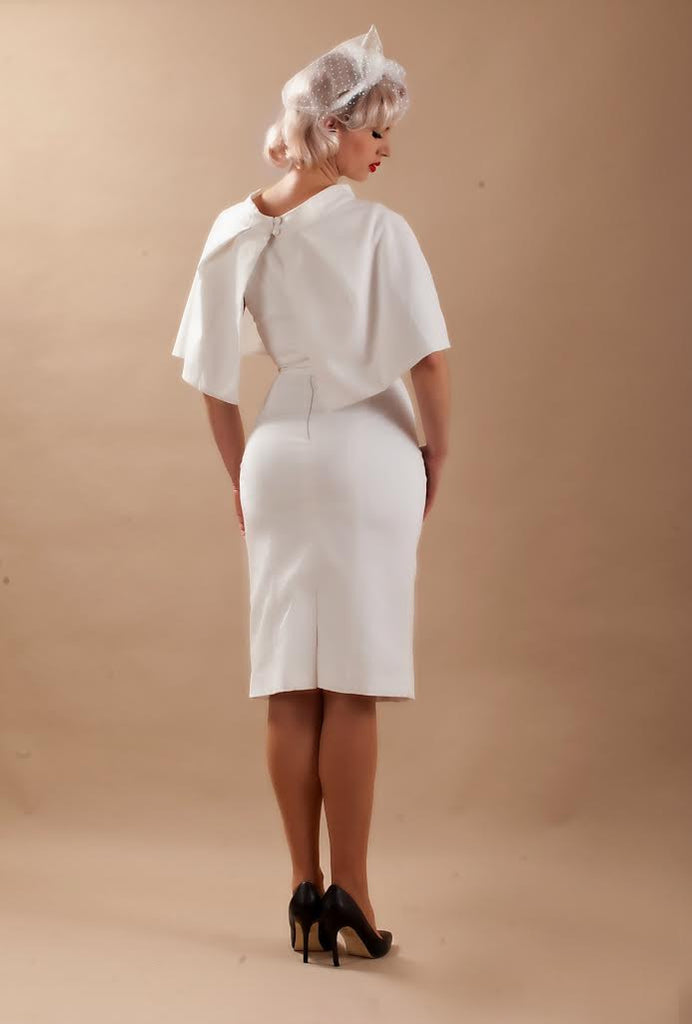 Cape + dress - white pencil dress with matching cape - heartmycloset