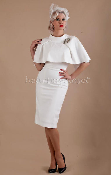 Cape + dress - white pencil dress with matching cape