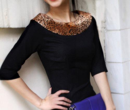 JEN - classic LBD with leopard velvet trim - heartmycloset