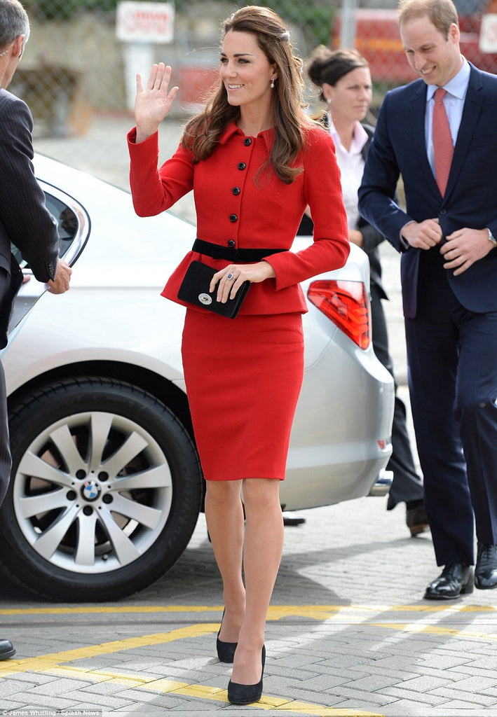 Kath - red Kate Middleton inspired suit pencil skirt - heartmycloset