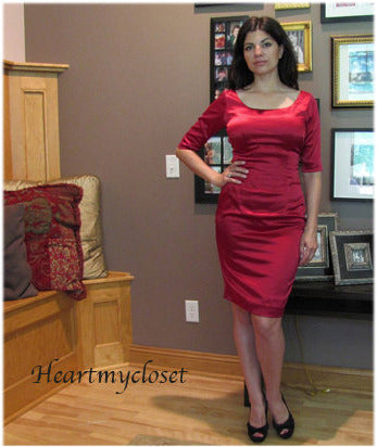 Jo - red satin wiggle retro dress mid sleeves scoop neck - heartmycloset