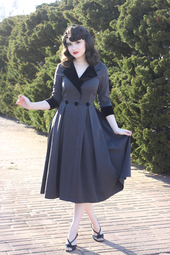 velvet swing pleat - 50s inspired dress - heartmycloset