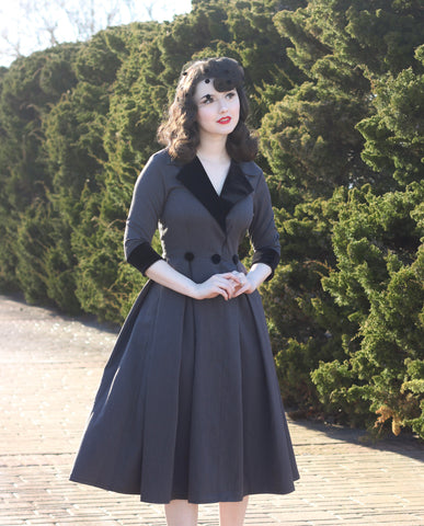 velvet swing pleat - 50s inspired dress