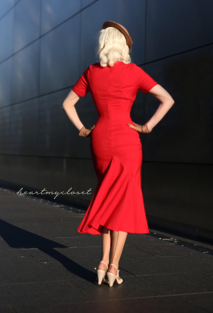 red mermaid wiggle - retro 50s dress