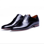 Casual Genuine Leather Pointed Toe Hidden Lace Up Male Business Shoes