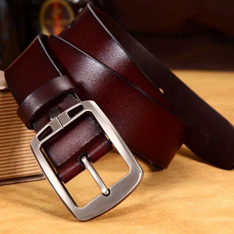 Men's Vintage Business Cow Leather Pin Buckle Belt
