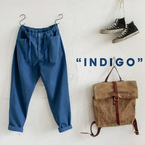Blue Loose Straight Casual Pants