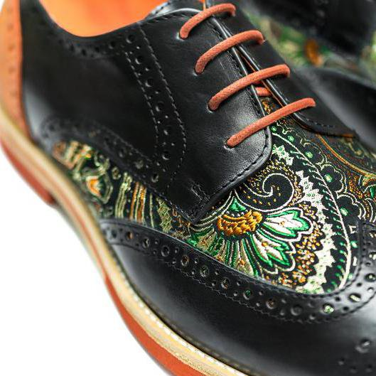 Handmade Silk Dragon Pattern Oxford Shoes